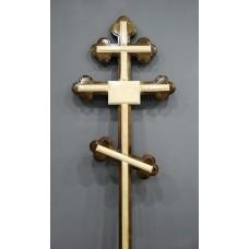 Крест деревянный фигурный лак с табличкой 2,25 м