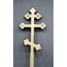 Крест деревянный фигурный лак чб 2,25 м